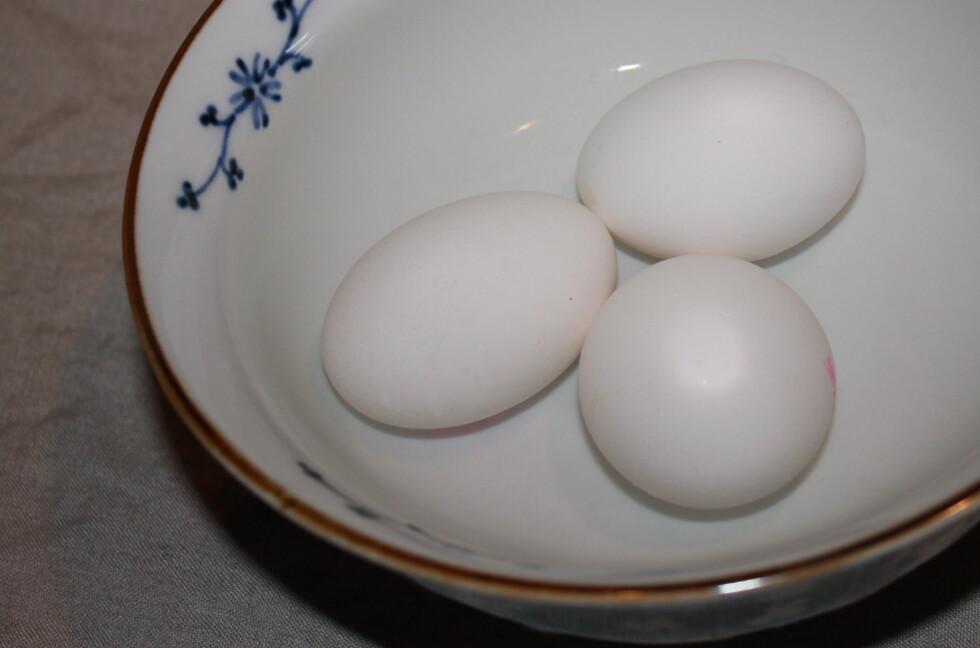Legger du kjøleskapskalde egg i varmt vann i 5-10 minutter, får de fin romtemperatur. Foto: Elisabeth Dalseg