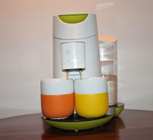 Senseo er den mest fargerike av maskinene vi testet.  Foto: Elisabeth Dalseg
