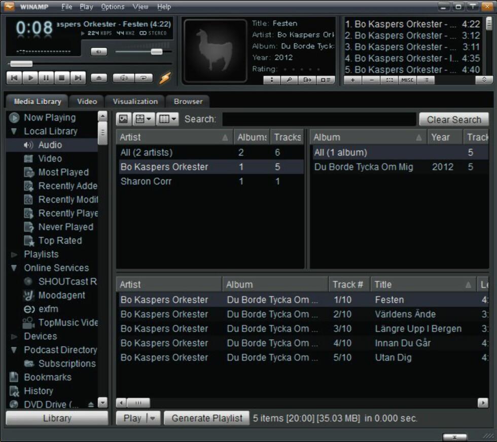 Slik ser den altså ut, versjon 5.66 av Winamp - den siste utgaven av den en gang så dominerende MP3-avspilleren.