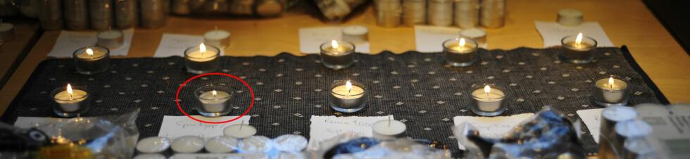 Lyset fra Living flame/Spar Kjøp (med ring) brant med en betydelig mye mindre flamme enn de øvrige lysene. Det var rett og slett litt kjipt. Foto: Kristin Sørdal