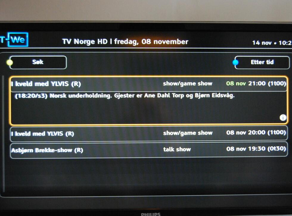 TVNorge tilbyr foreløpig kun egenproduserte prime time-sendinger i ukesarkivet.  Foto: Thomas Strzelecki