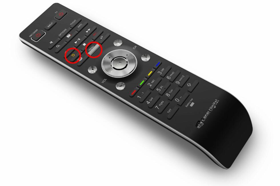 """<strong><strong>HER SKAL DU TRYKKE:</strong></strong> """"Start forfra"""" har en en egen knapp, mens """"Ukesarkiv"""" og """"TV-arkiv"""" finner du umiddelbart når du trykker på """"Meny""""-knappen.  Foto: Canal Digital"""