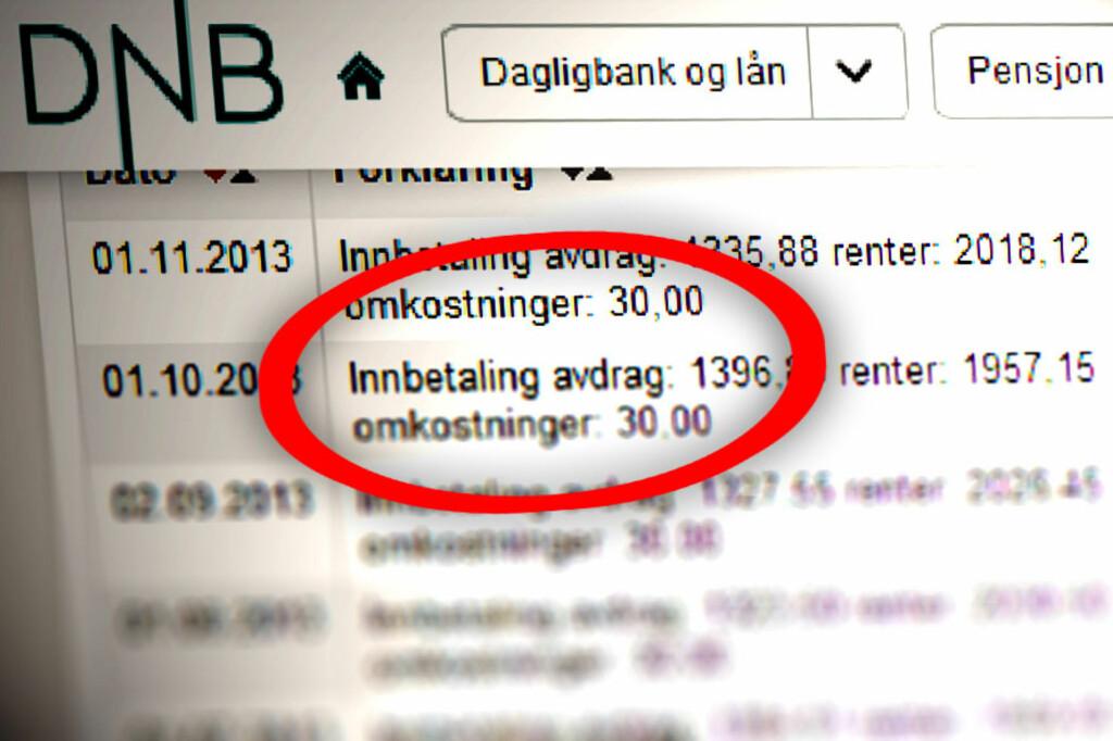 OMKOSTNINGER: Slik kan tilbakebetalingene av et lån se ut hos DNB. Her er termingebyret 30 kroner, men det kan også koste 50 kroner.  Foto: OLE PETTER BAUGERØD STOKKE