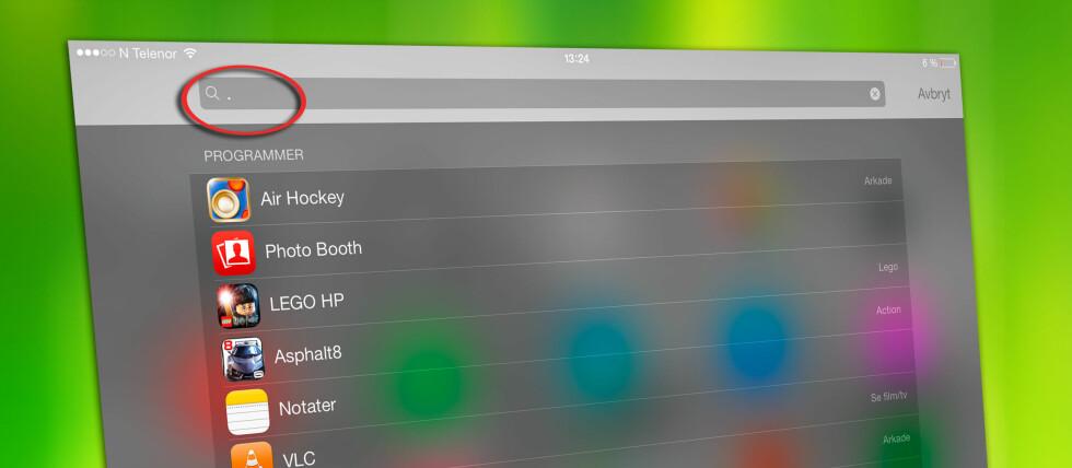 <strong>PUNKTUM:</strong> Ett lite tegn er alt som skal til for å liste opp alle appene dine. Foto: COLOURBOX/KIRSTI ØSTVANG