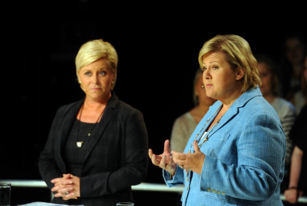 Finansminister Siv Jensen og statsminister Erna Solberg avlyser den rød-grønne regjeringens planlagte skatteskjerping for boligeiere.  Foto: ALL OVER PRESS