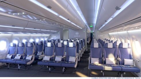 Bilde fra Airbus 350 XWB - som altså er med ekstra bredde. Foto: AIRBUS