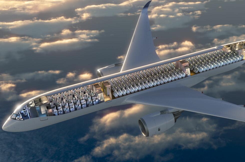 AIRBUS VIL HA FELLES SETE-STANDARD: En tomme gjør hele forskjellen, ifølge Kevin Kingston, leder for passasjerkomfort hos Airbus. Setene bør minst være 18 tommer brede. Foto: Airbus