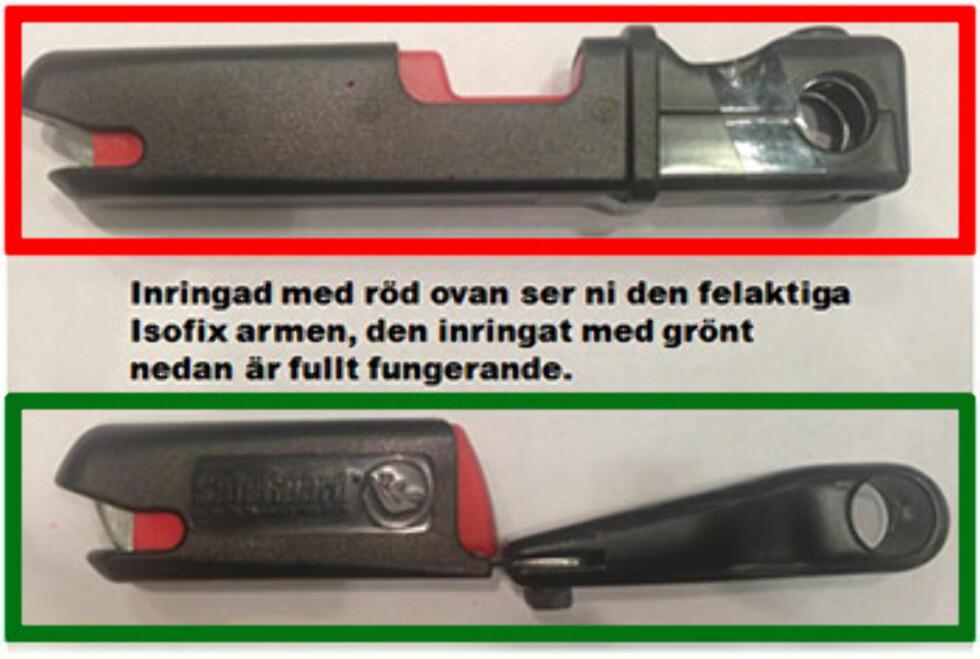 Denne informasjonen har Axkid lagt ut på sin hjemmeside. Bildet viser den svake isofixarmen med rød ramme og den eldre armen i grønn ramme. Foto: Axkid