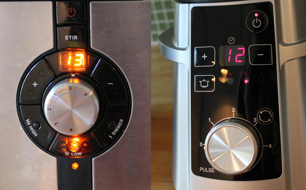 Designet er ulikt, men funksjonene er de samme. Wilfas (t.v.) har markerte knapper, mens Cuisinart (t.h.) har dekket sine med en film. Den finnes også i en versjon med markerte knapper. Foto: Elisabeth Dalseg