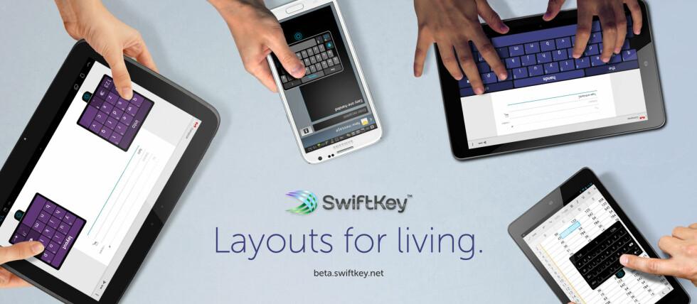 NY VERSJON: Swiftkey var en av de tidlige erstatnings-tastaturene for Android-mobiler. Nå er den nye versjonen her, med blant annet forbedringer for store skjermer. Foto: Skjermdump