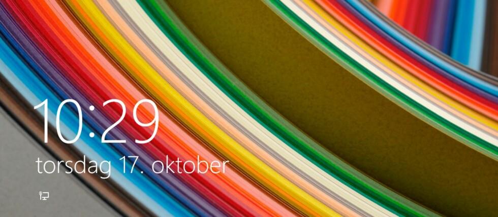 Slik ser standard låseskjerm ut i Windows 8 Pro.