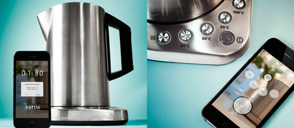 I serien med ny teknologi som forenkler hverdagen vår, her er vannkokeren som styres fra mobilen. Foto: Firebox