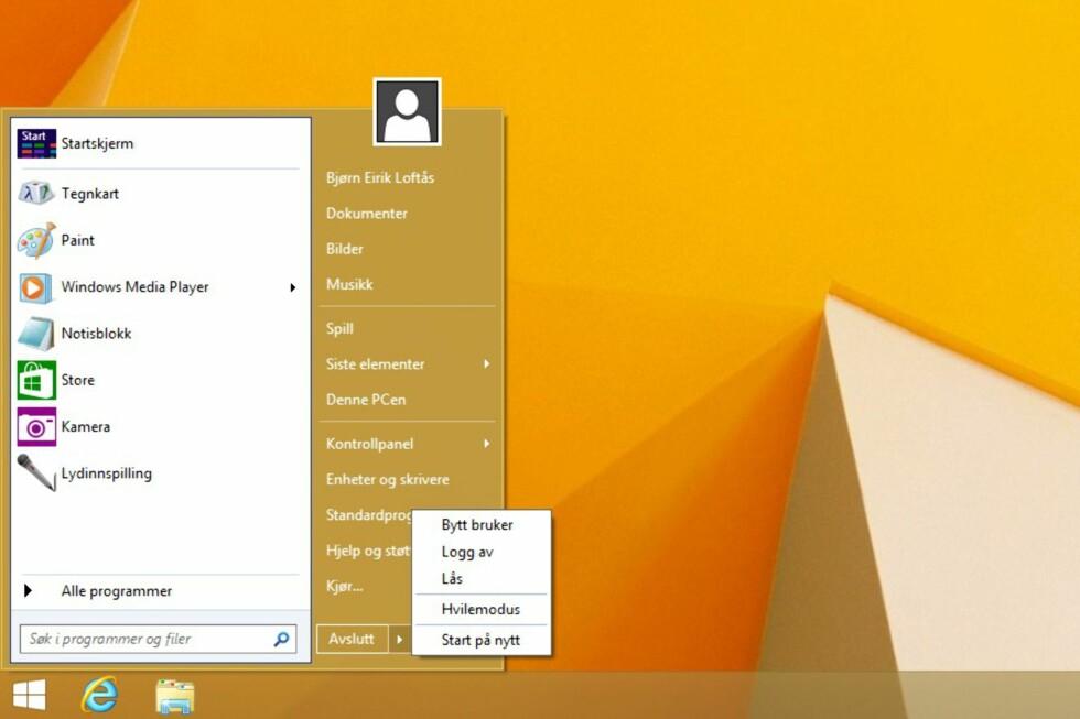 Startmeny-funksjonaliteten er akkurat slik du husker den, med muligheter for å flytte, slette og organisere med dra & slipp. I listen over mest brukte programmer ligger både klassiske Windows-programmer og Modern UI-apper.