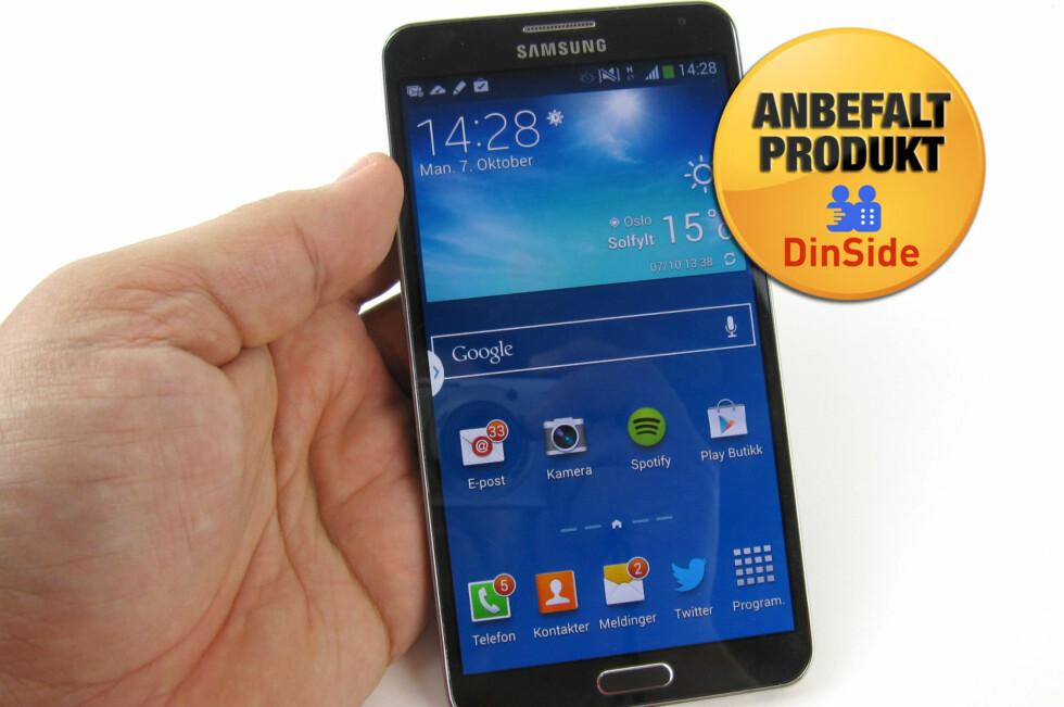 Samsung Galaxy Note 3 er en av de aller beste store mobilene på markedet akkurat nå. Foto: Bjørn Eirik Loftås