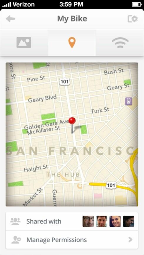 Tile-appen husker hvor den sist så brikken din slik at du kan se hvor du forlot f.eks sykkelen din.