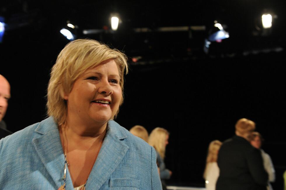 Erna Solberg og Høyre er nå klare for å gå inn i konkrete regjeringsforhandlinger med Siv Jensen og FrP.  Foto: All Over Press