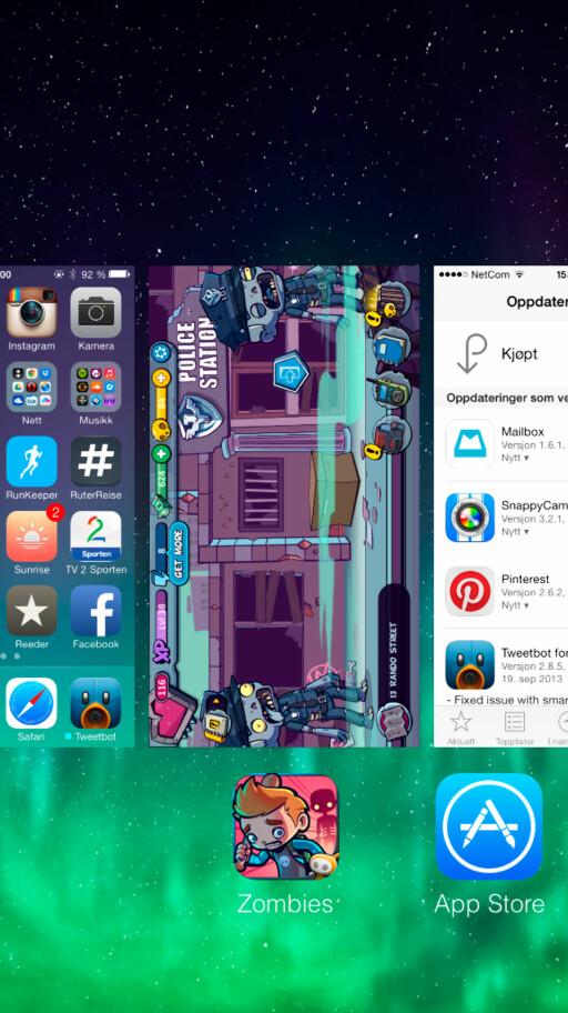 I den nye multitasking-funksjonen drar du en app opp og ut av skjermen for å lukke den. Prøv med tre apper samtidig! Foto: Kirsti Østvang