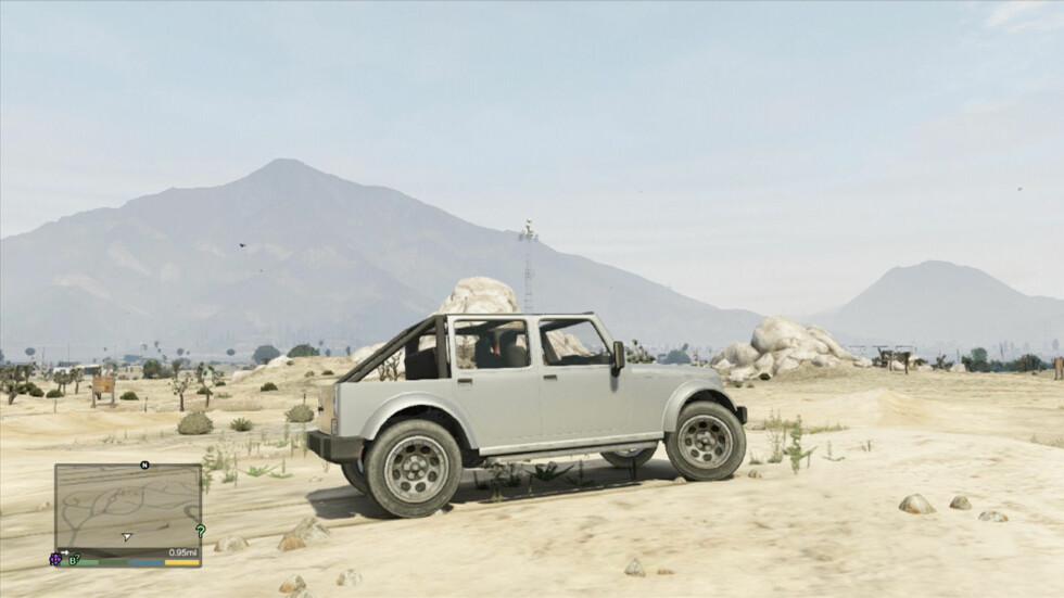 EVENTYR: ... og bilen som passer til. Men hvilken er det? Uansett: Dette gir lyst til å hive seg ut i spillet. Foto: Rockstar Games