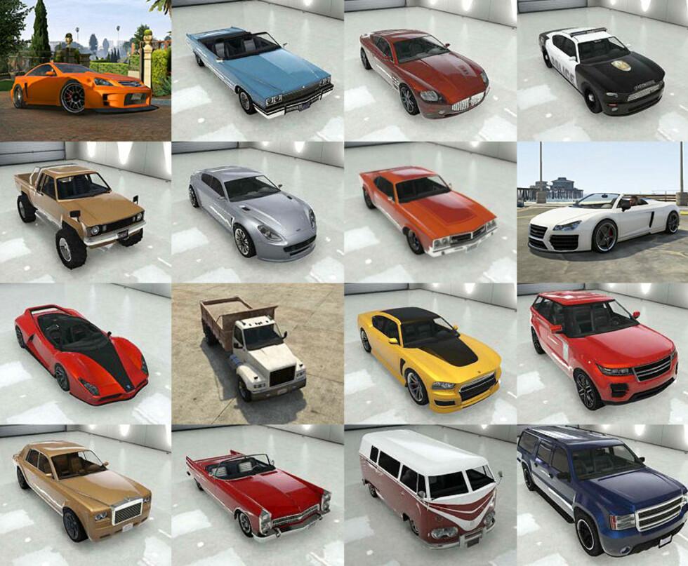 Her har vi satt sammen et ørlite utvalg av biler som har roller i Grand Theft Auto V, hentet fra nettstedet igta5.com og fra selve spillet.