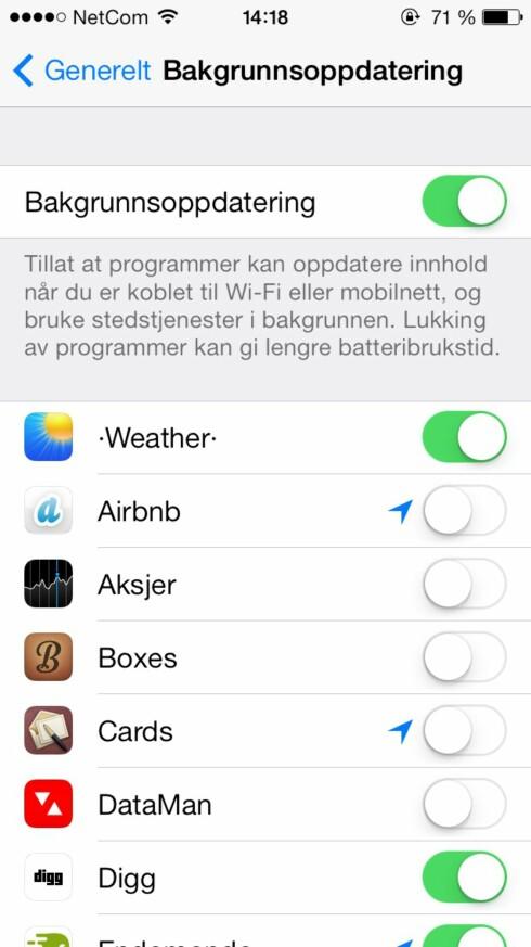Bakgrunnsoppdatering er en av nyhetene i iOS 7 som kan forårsake mer strømforbruk.