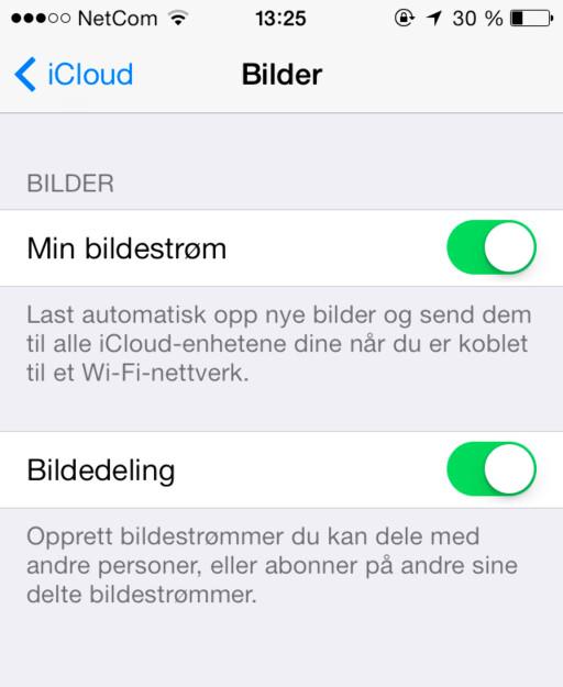 Slik ser valgpanelet for Bildestrøm ut i kommende iOS 7.