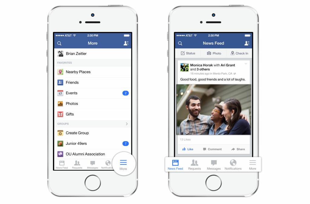 """FORANDRES IGJEN: Slik ser """"nye"""" Facebook ut på iPhone. Appen har fått en flatere mer moderne design som står i stil med iOS 7. Foto: Facebook"""