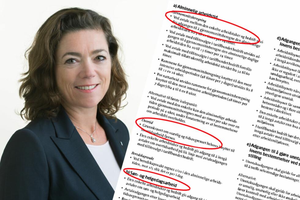 NHO med Kristin Skogen Lund i spissen ønsker flere endringer av Arbeidsmiljøloven. Foto: NHO