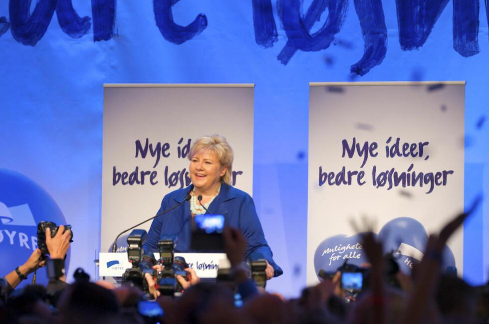 """""""NYE IDEER, BEDRE LØSNINGER"""": Erna Solberg og Høyre vant valget på å ville bidra med noe nytt.  Foto: Høyre/CF-Wesenberg"""