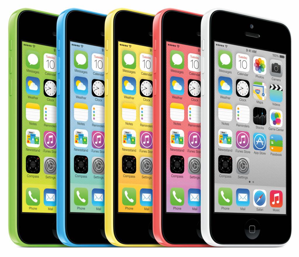 FEM FRISKE FARGER: iPhone 5 kommer i fem forskjellige farger med matchende bakgrunnsbilde.