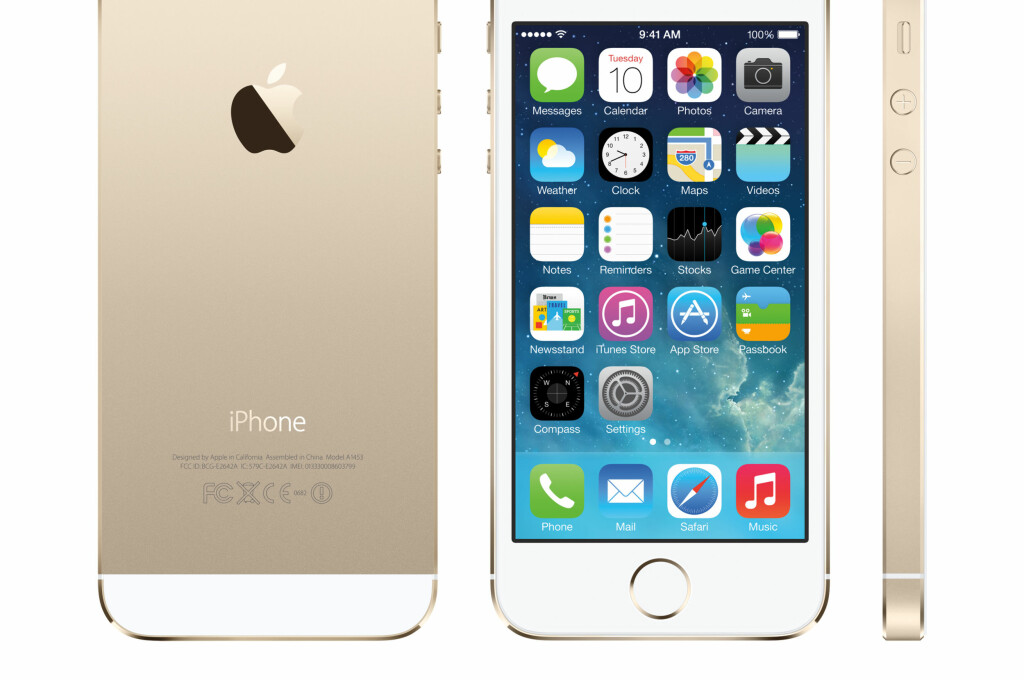 GJØR PINKODEN OVERFLØDIG: Den nye hjemknappen på iPhone 5S har en innebygget fingeravtrykksleser. Fingeren er med andre ord det nye passordet. Foto: Pressefoto