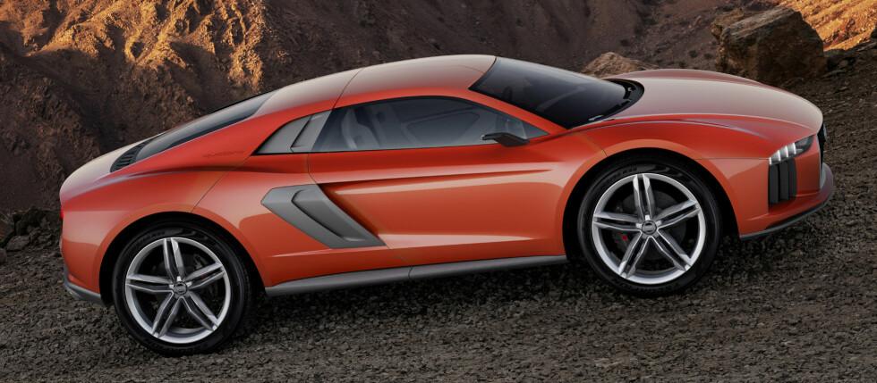 Audi Nanuk: Dersom du liker fargen på deres nye konseptbil, så kalles den Ekstremrød. Interiøret er i minaralgrå.  Foto: Audi