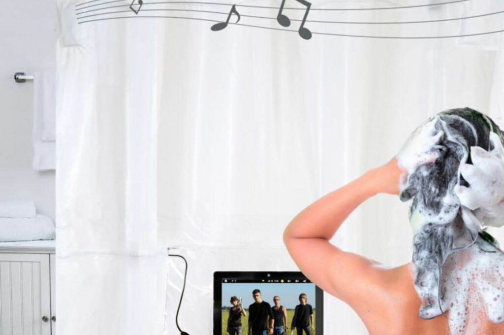 Få komp - eller selskap - i dusjen med ShowerTunes.  Foto: Bed bath and beyond