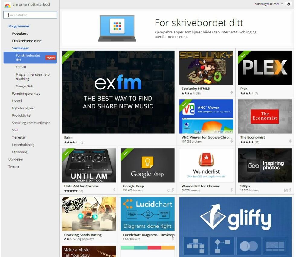Google klare med apper for skrivebordet