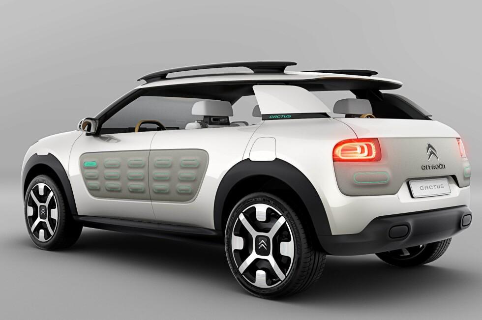 Citroën Cactus skal fortelle noe om hva Citroën kommer til å bruke av designidéer på kommende modeller.Enkelhet og beskyttelse er stikkord. Foto: Citroën