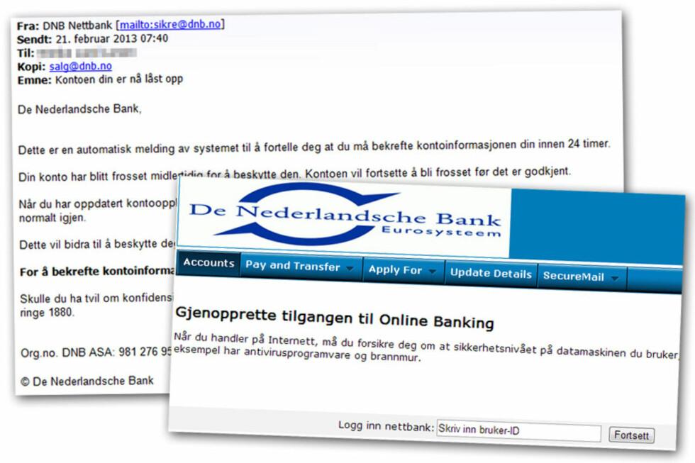 <strong>SVINDEL #2:</strong> Denne e-posten er angivelig sendt fra en DNB.no-adresse, men sender deg til en svindelside.  Foto: Ole Petter Baugerød Stokke