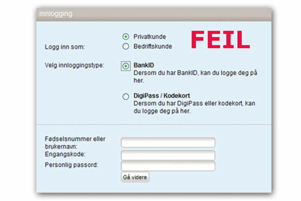 SVINDEL #4: Her er et eksempel på enda en falsk Sparebank1-innlogging.  Foto: Sparebank1