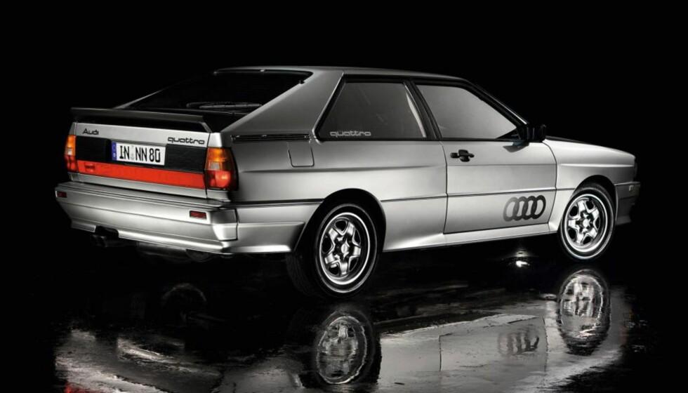 """ORIGINALEN: Audi Quattro fra 80-tallet - her i """"sivil"""" utgave. Rallyversjonen herjet med konkurrentene til langt ut på 80-tallet. Foto: Audi"""