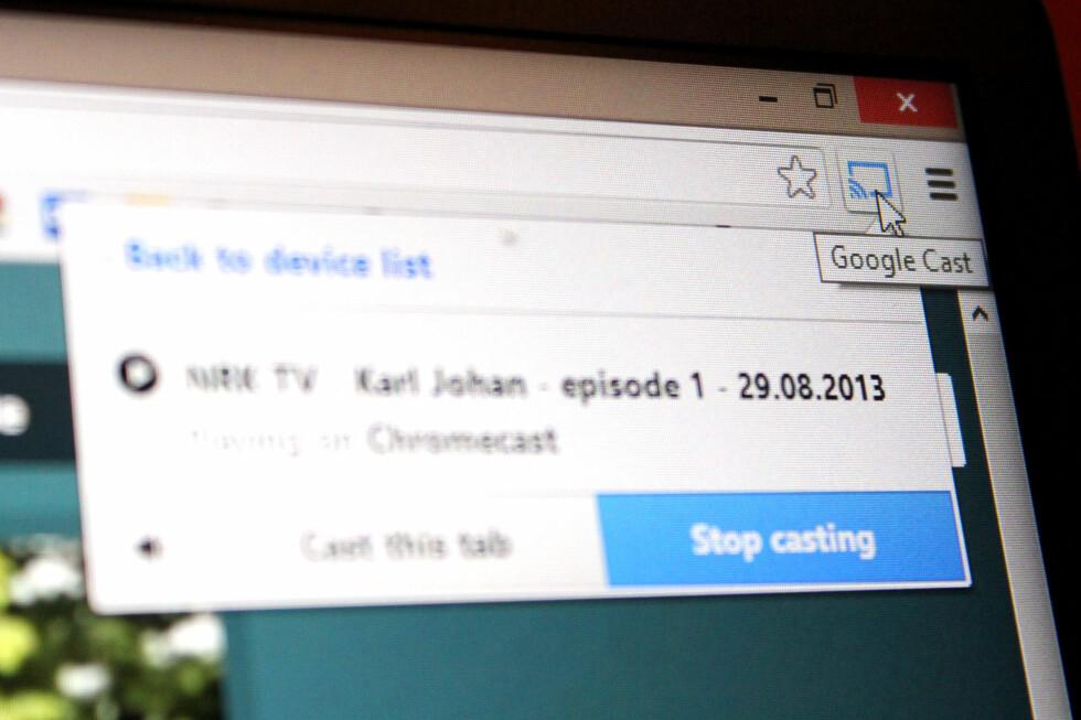 ENKELT: Å sende innhold fra Chrome til Chromecast gjøres enkelt med et tillegg i nettleseren.
