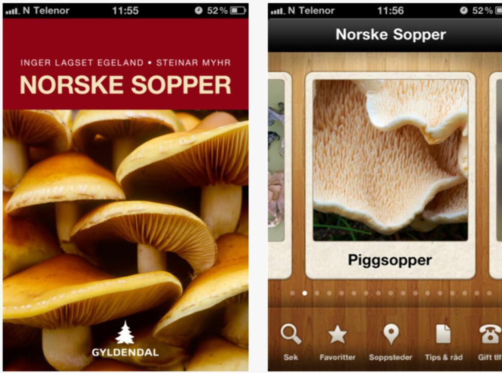 """Sopp-i-lommen: """"Norske sopper"""" av Inger Lagset Egeland og Steinar Myhr, utgitt på Gyldendahl kan også kjøpes i appstore for 49 kroner.  Foto: Appstore"""