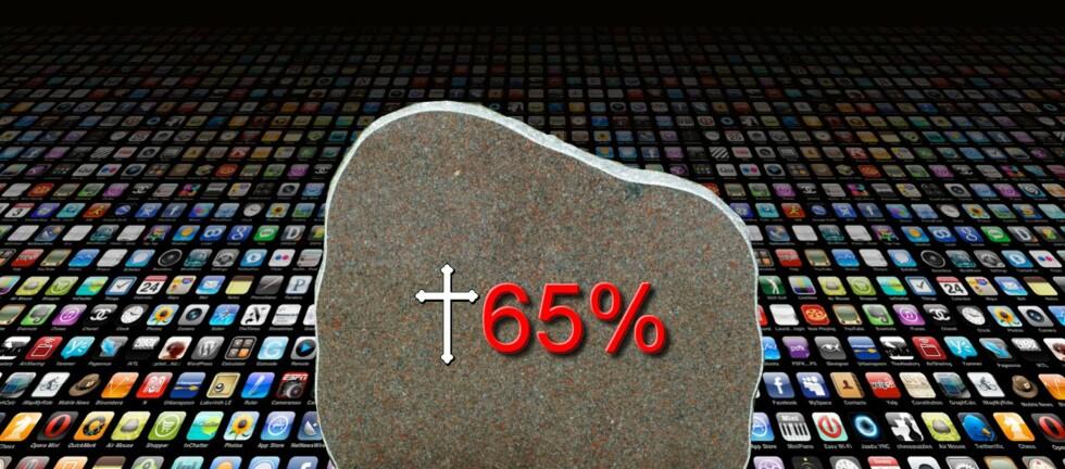 Så mye som 65% av appene i App Store blir aldri oppdatert eller kommentert, og er å betrakte som døde. Foto: DinSide