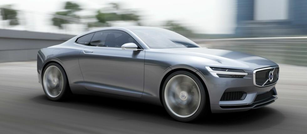 """Ingen futuristisk drømmebil, sier Volvo selv om sin nye Concept Coupé. De kaller den neste generasjon P1800, med referanse til sportskupéen fra 1960-tallet, udødeliggjort i TV-serien """"Helgenen"""". Foto: Volvo"""