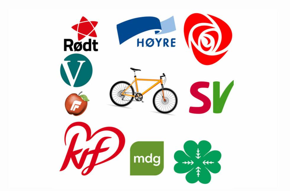 VALG AV SYKKEL: Hvilke partier er det som jobber best for deg på to hjul? Foto: DinSide