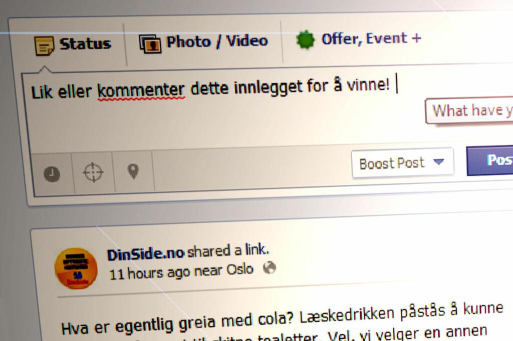 MER AV DETTE: Nå kan man skrive slikt, og komme unna med det. I går hadde slike Facebook-konkurranser vært ulovlig.  Foto: Ole Petter Baugerød Stokke