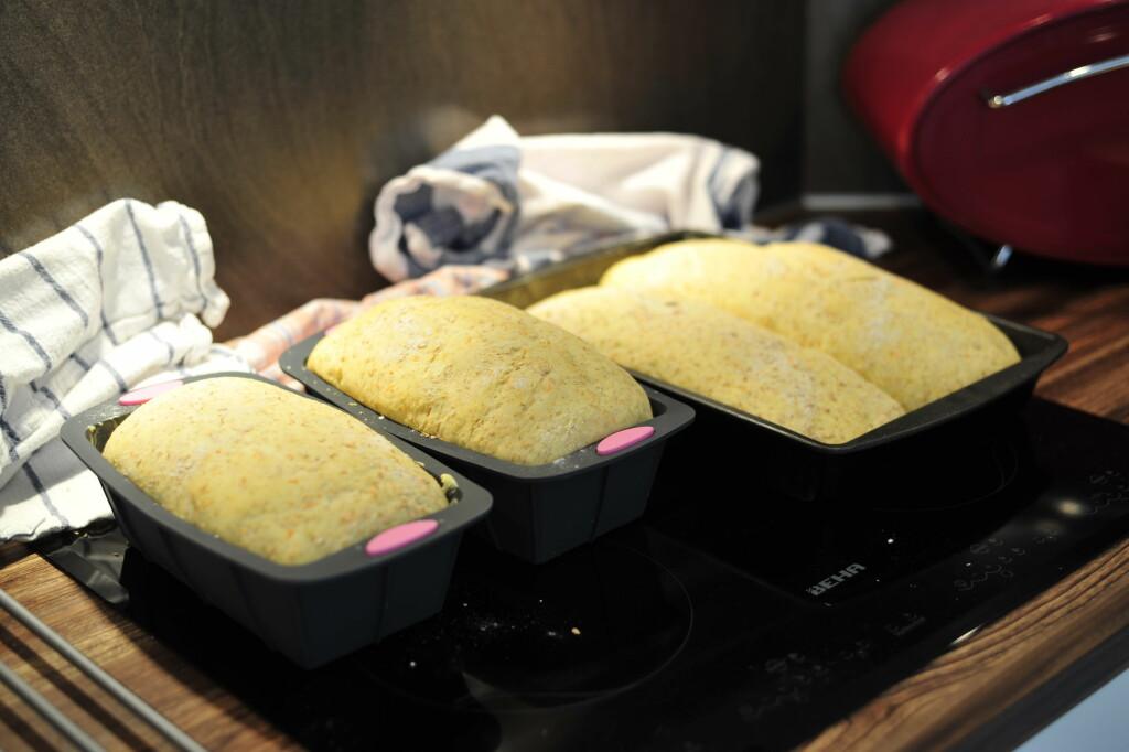 Etter en times etterheving: tørrgjæren begynner å hale innpå. Brødet med tørrgjær helt til venstre, tilsvarende likt med fersk gjær til venstre i lik form. I den borteste formen med dobbel brødladning ligger brødet med tørrgjær til venstre og det med fersk gjær til høyre. Foto: Kristin Sørdal