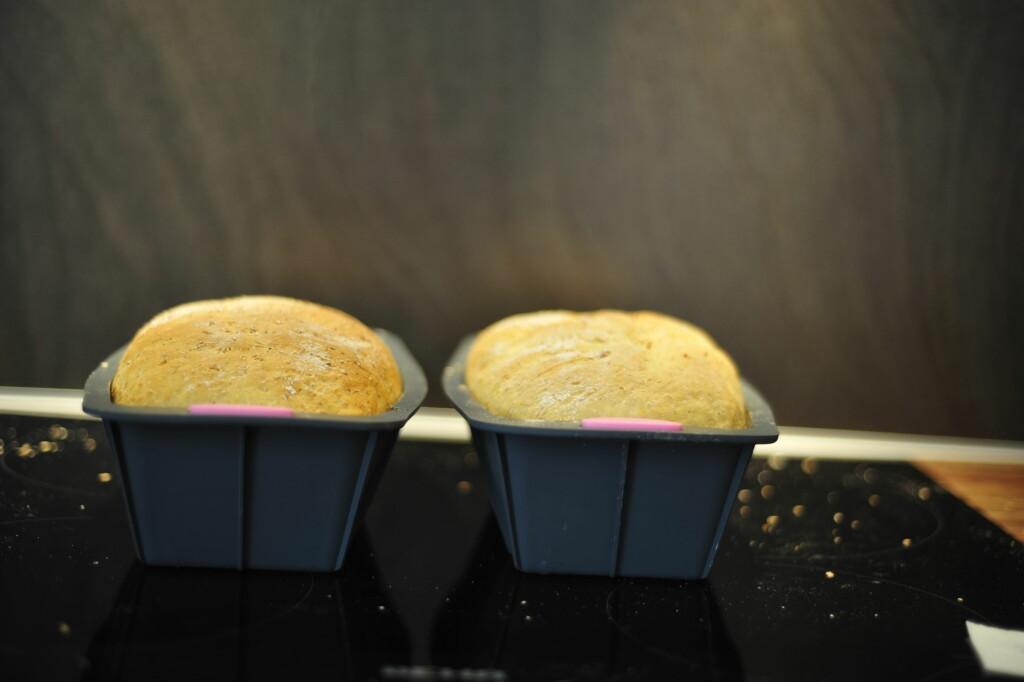 Etter steking er brødene ganske like: Brødet med fersk gjær til høyre og med tørrgjær til venstre. Foto: Kristin Sørdal