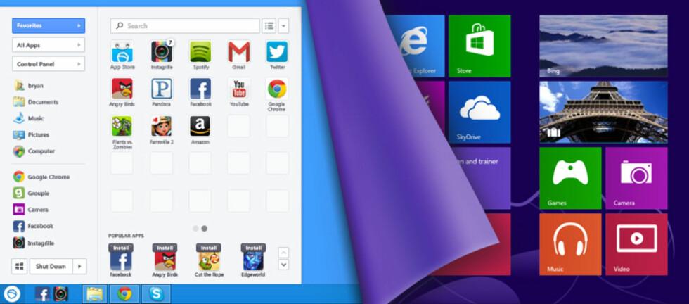 Pokki-menyen framstår som videreutvikling av startmenyen i Windows 7. Snart kommer alle nye Lenovo-maskiner med den ferdig installert.
