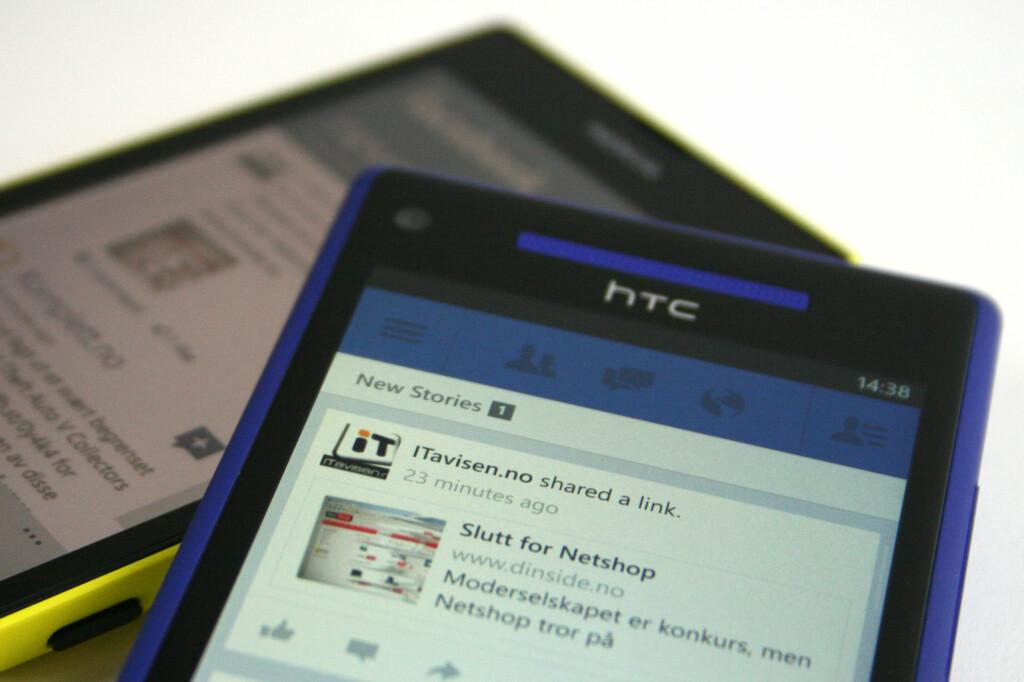 OPPDATERT: Facebook-appen til Windows Phone kom i ny drakt nylig. Men den oppleves fortsatt seigere enn hos konkurrentene, og har noen merkelige mangler.  Foto: Ole Petter Baugerød Stokke