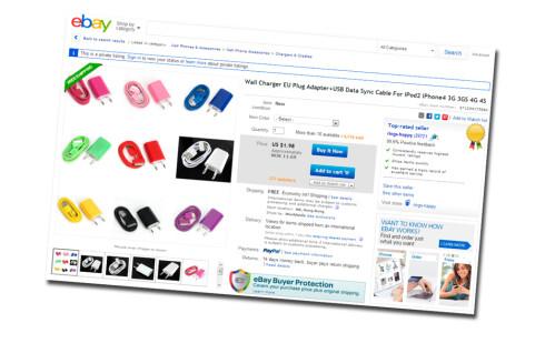 Det florerer av denne type ladere på eBay. Prisen? 1,98 dollar per stykk!  Foto: Skjermdump