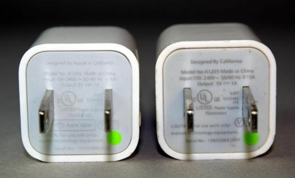 Ekte iPhone-lader til venstre, falsk iPhone-lader til høyre. Ser du forskjellene? Foto: Ken Shirrif, Righto.com