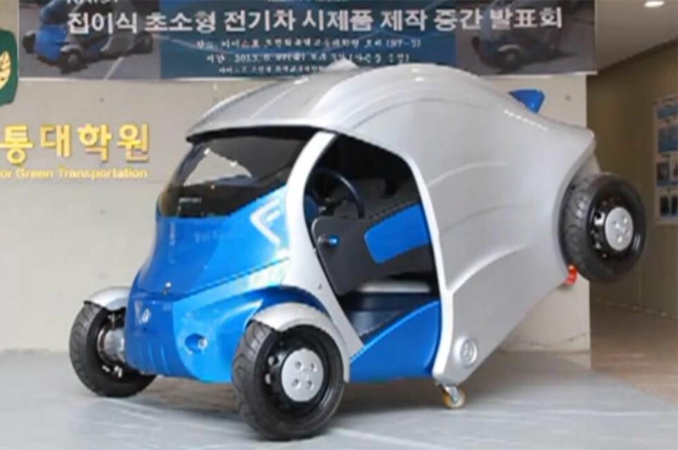 Armadillo-T er resultatet av et vitenskapelig prosjekt i Korea - der det er svært trangt om plassen i byene. Løsningen? En bil som nærmest kan brettes sammen for å få plass på en trang parkeringsplass! Foto: YouTube